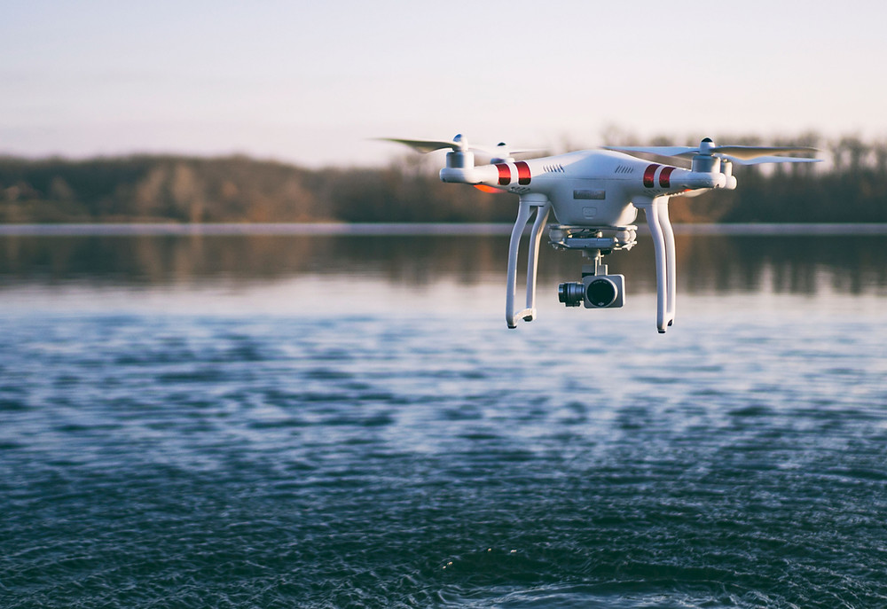 Drone With Camera Over Water