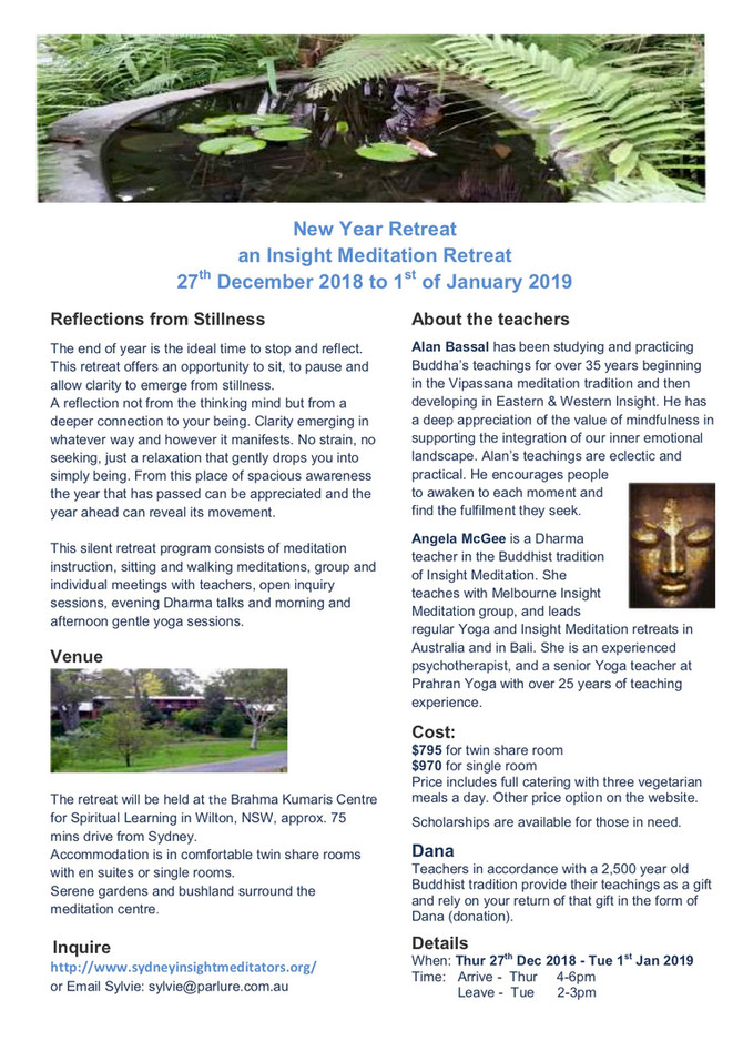 New Years Retreat Dec 2018 -Jan 2019