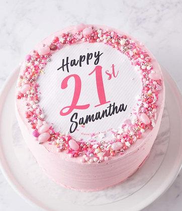 Pink Personalised Birthday Celebration Cake
