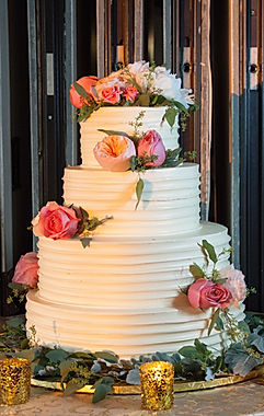 white 4 tiers floral buttercream wedding cake