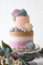 ombre purple blue pink buttercream flowers wedding cake