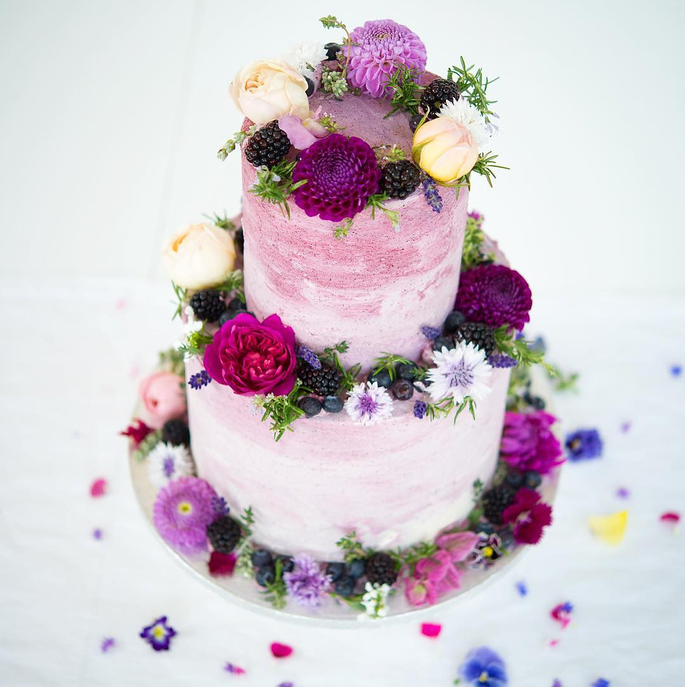 Edible Flower Wedding Cake via blushingcook