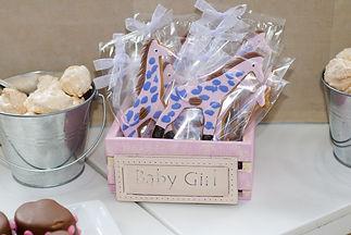 dessert table baby shower giraffe blue biscuits