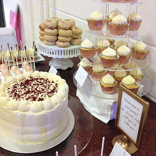 rose gold dessert table cake and cupcakes Glasgow Scotland