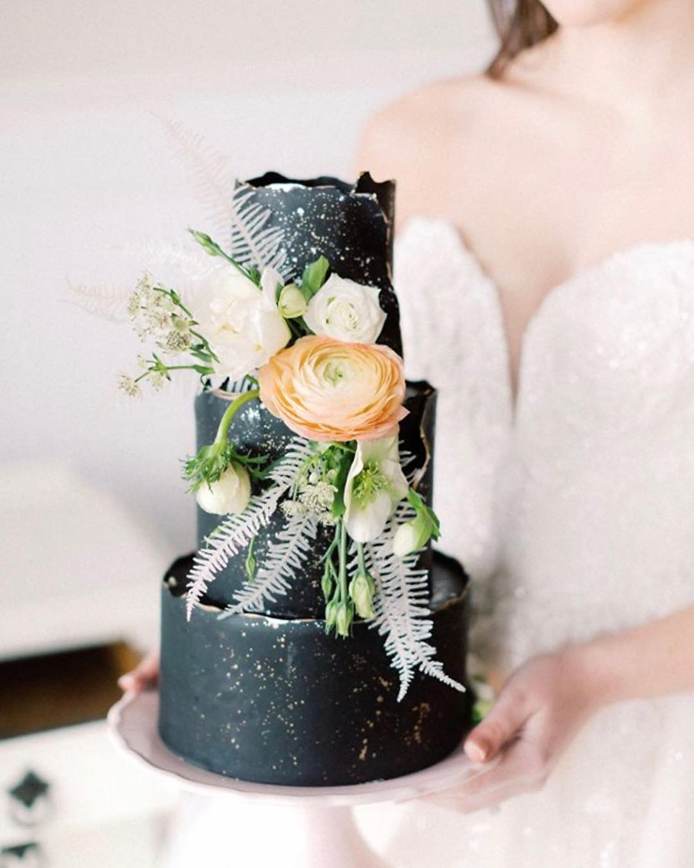 Black Wedding Cake via cake_envy_ga