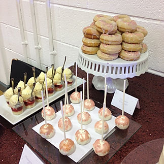 rose gold dessert table donuts dessert pots cake pops Glasgow Scotland