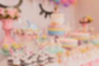 children's unicorn birthday party dessert table catering