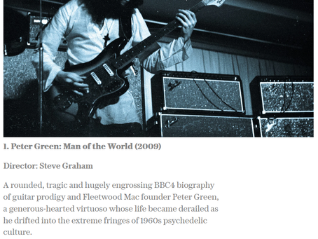 HHO's Peter Green, Man of the World ranked the No1 Rock Music documentary of all time by The Telegra