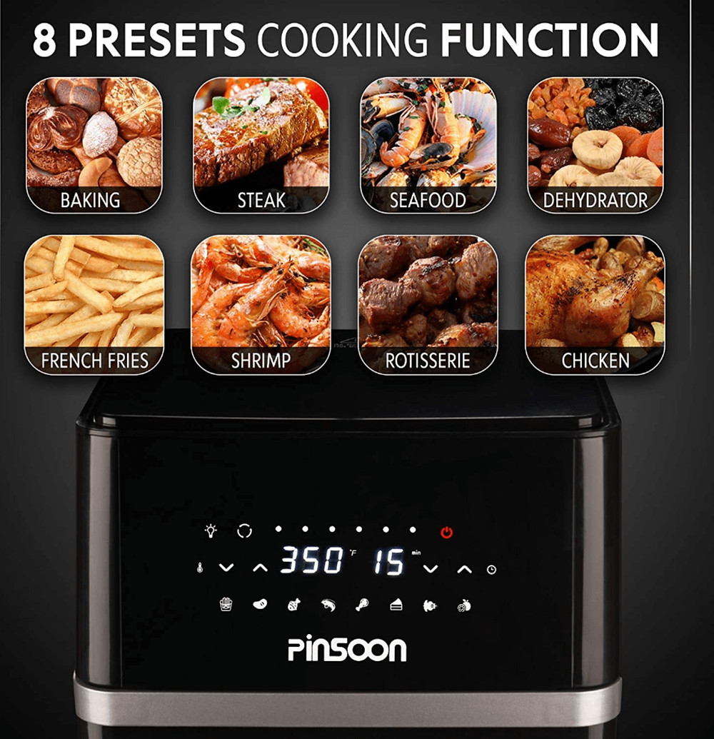 Cooking Functions of the PINSOON 10-Quart Air Fryer with Rotisserie