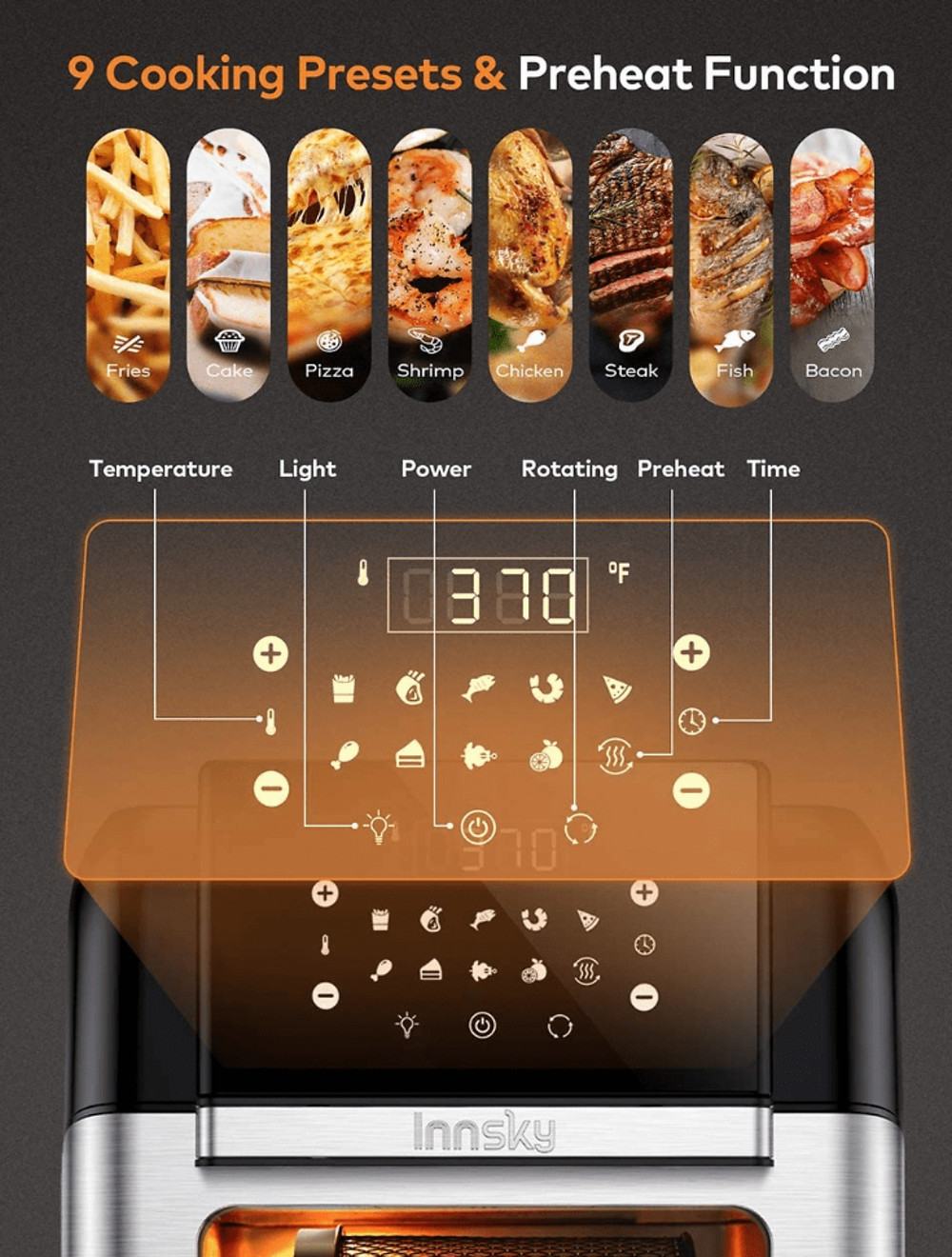 Controls and Presets on the Innsky Air Fryer 10.6 Quarts Rotisserie Oven