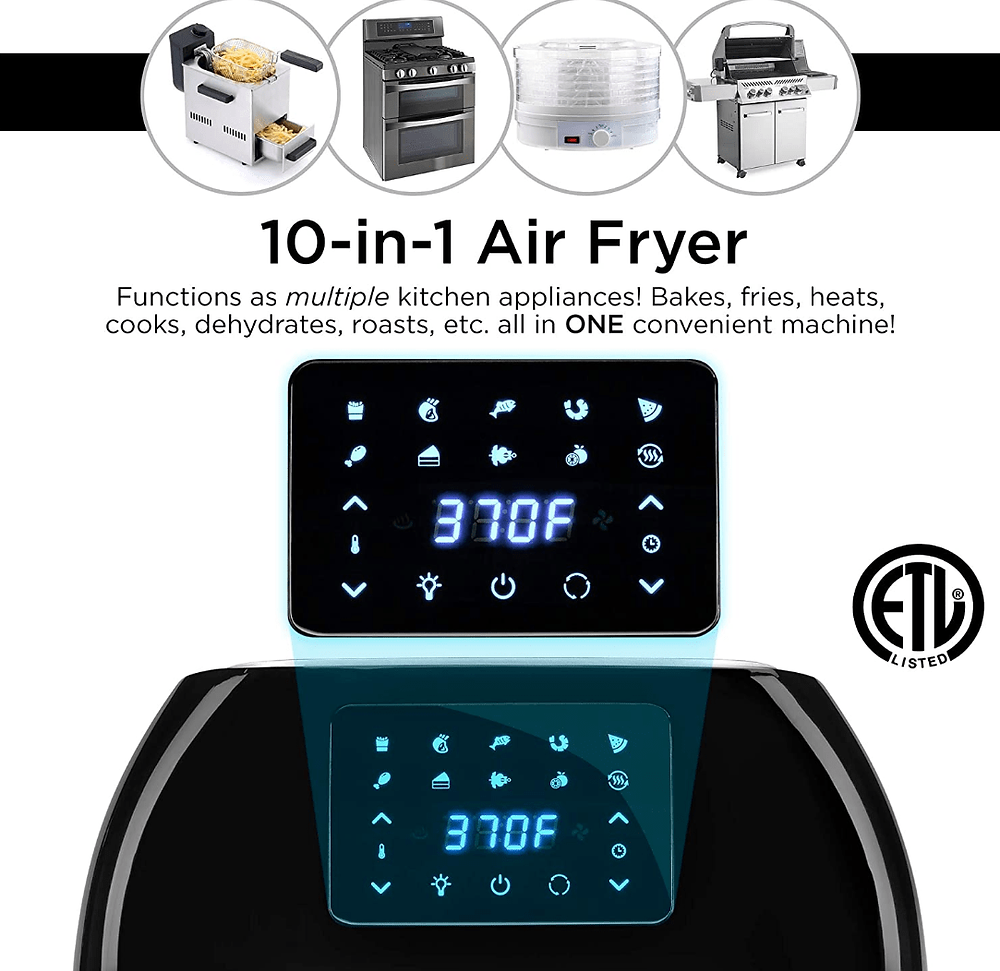 Versatility of functions on the Best Choice Products 10-in-1 Air Fryer Countertop Rotisserie Oven