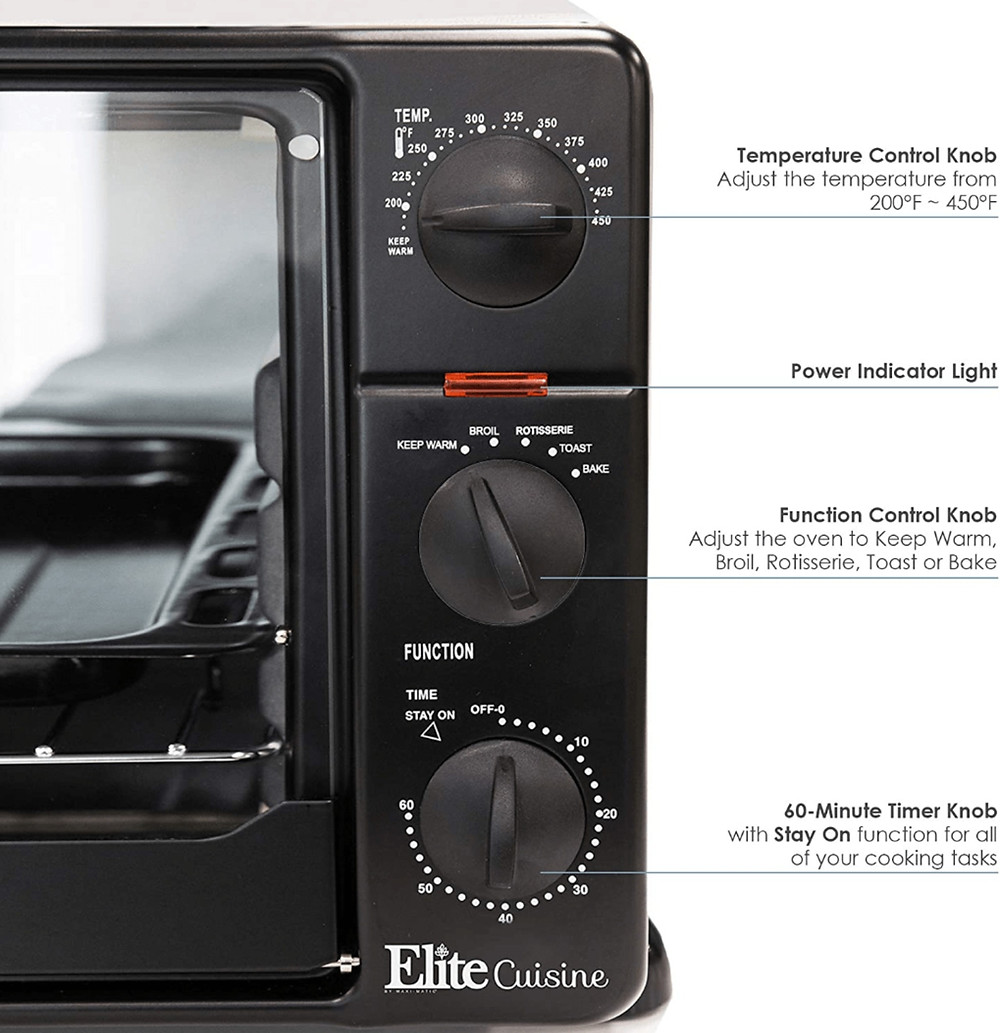 Controls on the Maxi-Matic 2008N Elite Gourmet Countertop Rotisserie Oven