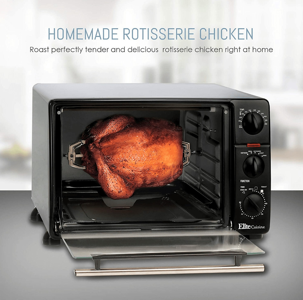 Rotisserie Cooking Whole Chicken on the Maxi-Matic 2008N Elite Gourmet Countertop Rotisserie Oven