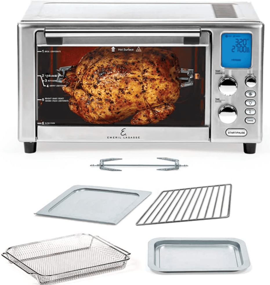Accessories and Attachments included with the Emeril Lagasse Power Air Fryer 360 Rotisserie Oven
