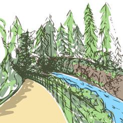 Red Cliff Design Illustration