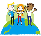 アクティビティに参加する子供と留学生たち