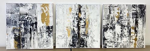 Monochrome Metallic Abstract Trio