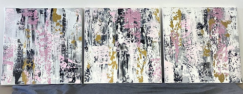 Monochrome Pink and Gold Abstract Trio