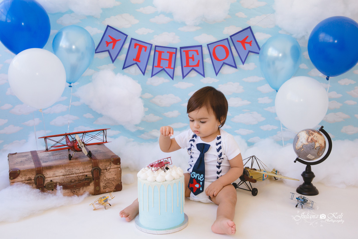 Airplane Themed Cake Smash Session