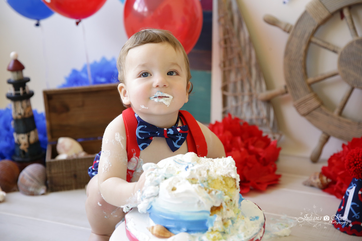 Nautical Cake Smash - South Florida Children Photographer