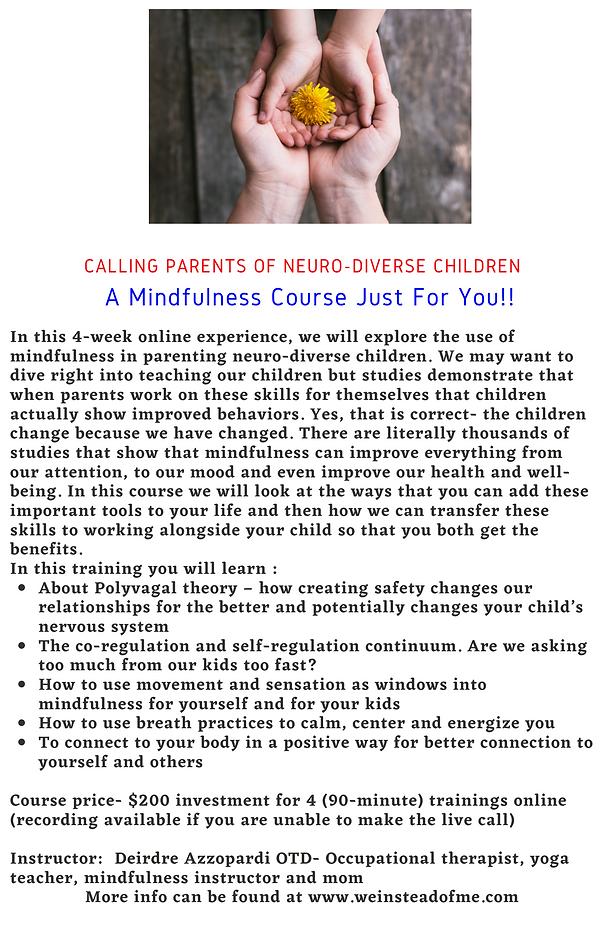 Calling Parents of Neuro-diverse Childre