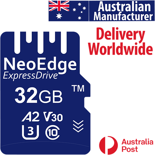 NeoEdge MicroSD TF memory card 32GB A2, U3, V30, UHS-I, C10, up to 99MB/s