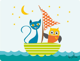 Owl and Cat in boat