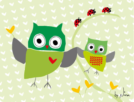 Mummy and baby Owl