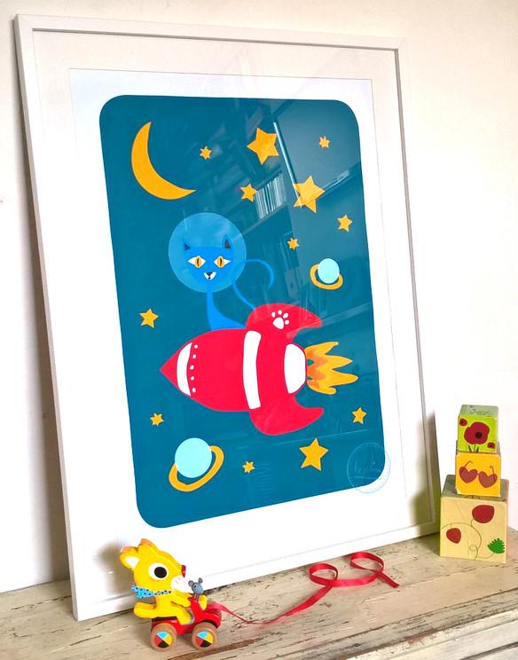 Rocket Cat Art Print
