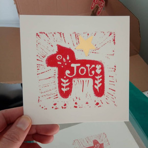Lino cut with goldfoil