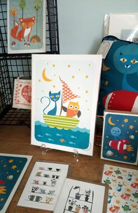 Owl and Cat Art Print
