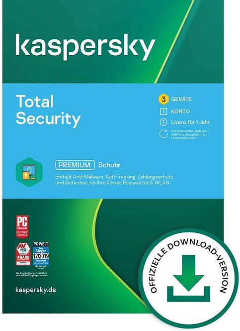 Kaspersky Total Security 3 Geräte, 1 Jahr, Vollversion, Download