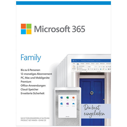 Microsoft 365 Family, 1 Jahr, bis zu 6 Benutzer, ESD (deutsch) (PC/MAC)