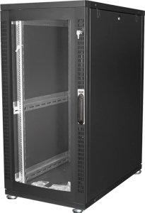 DIGITUS 26HE Serverschrank 1260x600x1000 mm, Farbe Schwarz (RAL 9005), Glastür