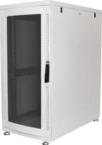 DIGITUS 26HE Serverschrank 1240x600x1000 mm, Farbe Grau (RAL 7035), Glastür