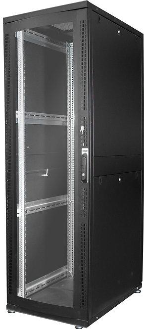 DIGITUS 42HE Serverschrank 1970x600x1000 mm, Farbe Schwarz (RAL 9005), Glastür