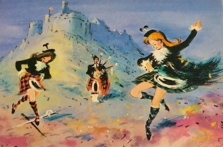 Highland Dancers, c. 1960s, from a writing set made by Waldorf of Newton Mill, England  It's the 60's!  Mini-kilts are in!