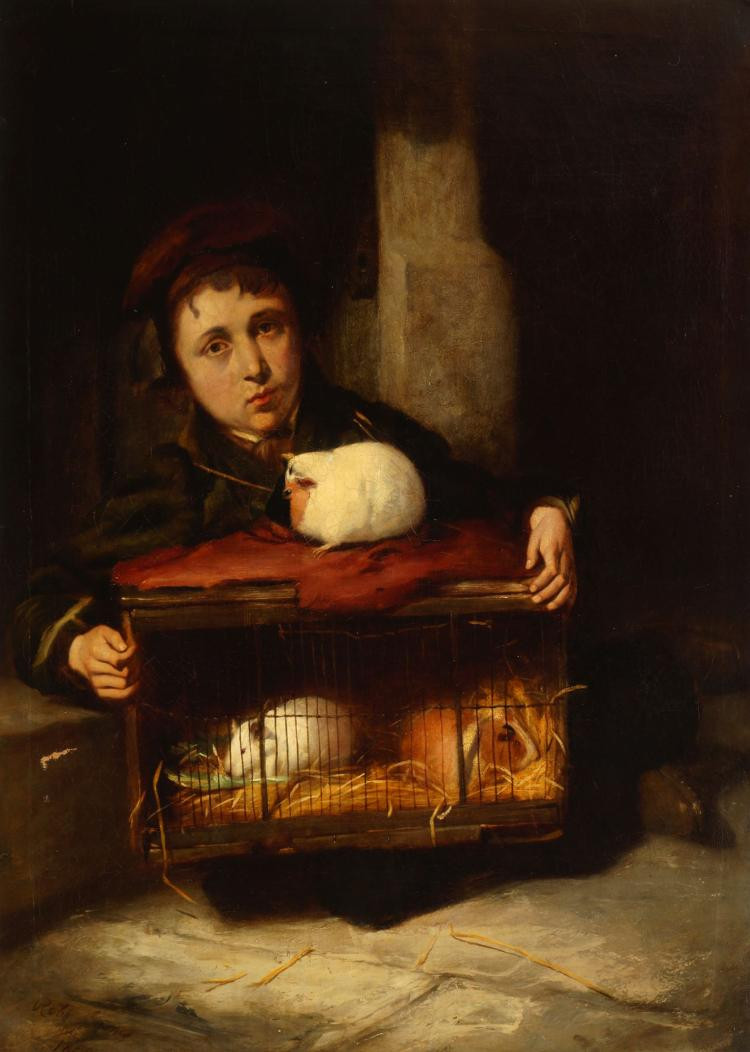 Boy with Guinea Pigs in a Stable