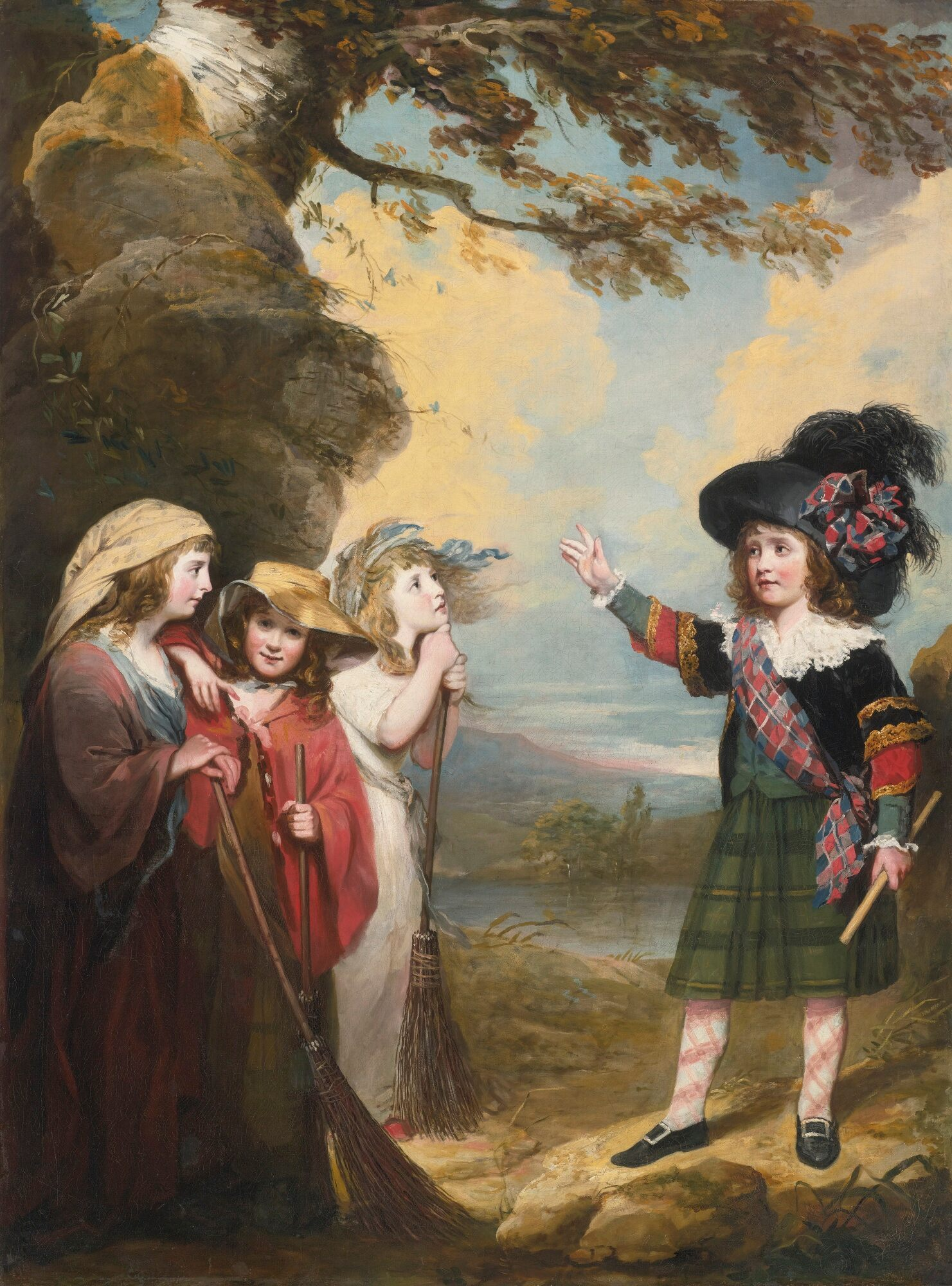 Four Children Playacting as Macbeth and the Three Witches