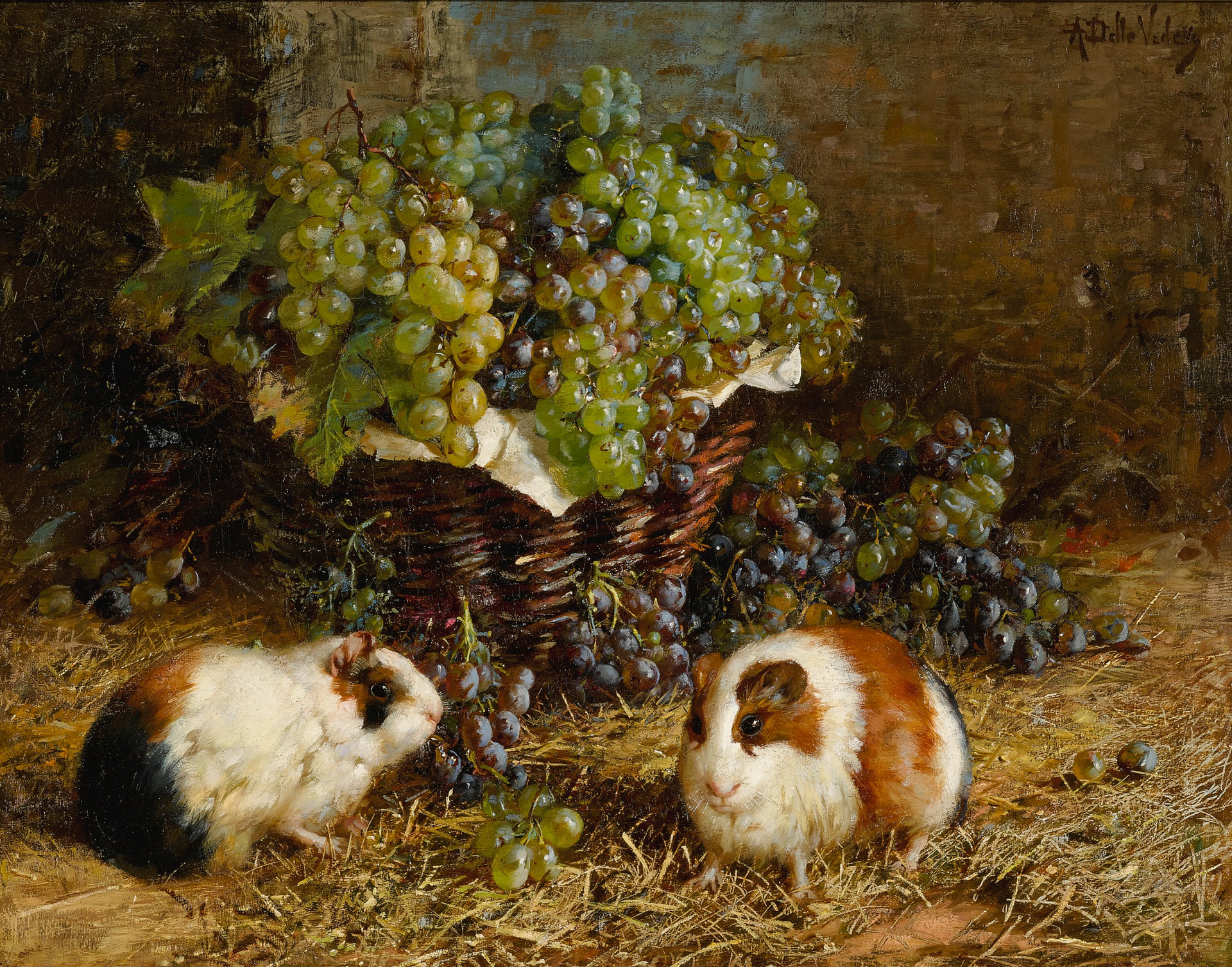 Guinea Pigs and Basket of Grapes