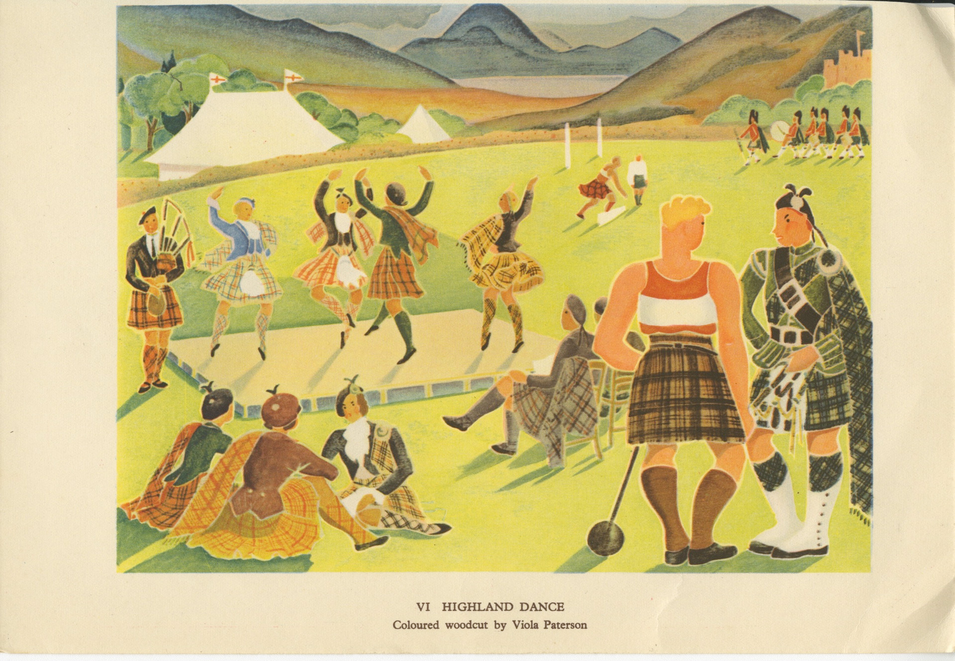 """""""Highland Dance"""" by Mary Viola Paterson (1899-1981)  Born in Helensburgh, Scotland, Paterson was from a leading artistic family - her father was the architect Alexander Nisbet Paterson and her mother Margaret was a painter and embroiderer. The artist James Paterson, one of the Glasgow Boys, was an uncle of Viola Paterson as was William Paterson who ran a Bond Street art gallery.    Paterson was a prolific painter and printmaker, producing colour woodcut prints in limited editions of six or twelve, often combining printed areas with watercolour additions. She developed a technique, which she called Wood Types, for engraving lines onto a wood block to separate different painted areas of colour."""