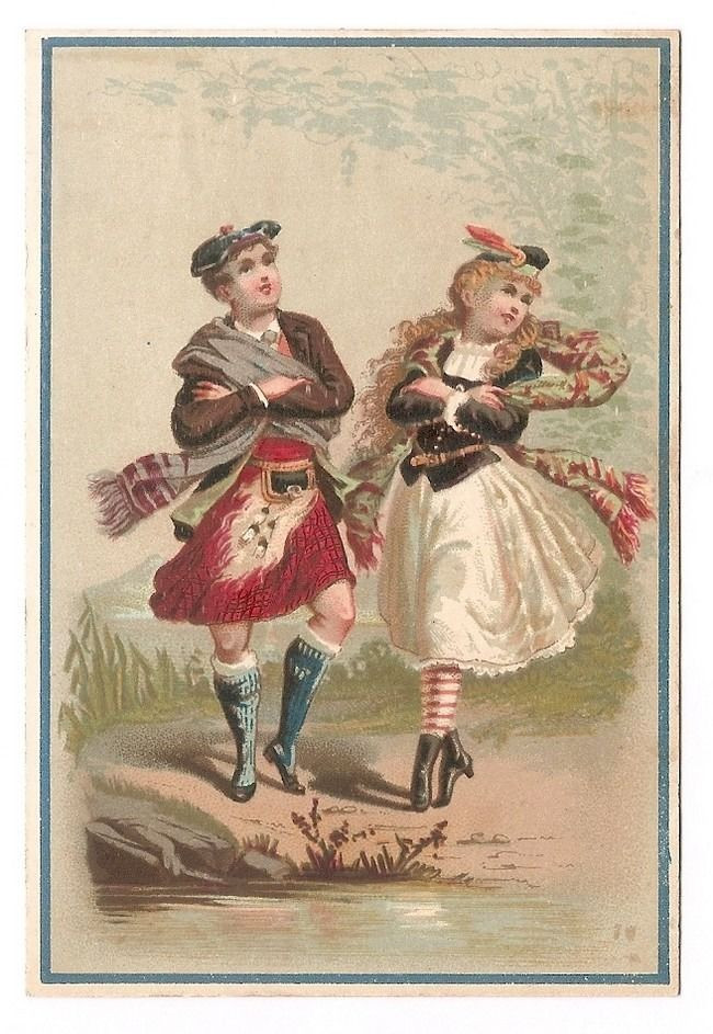 Interesting crossed-arms Highland Dancing vintage illustration - provenance unknown