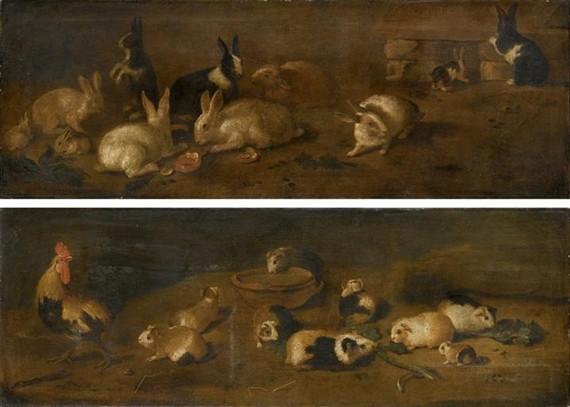 Conigli; e Animali da cortile e porcellini d'India