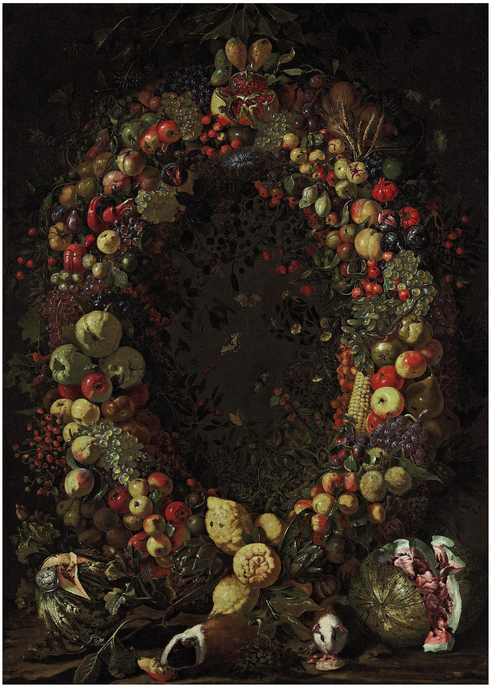 A Garland of Fruit with Guinea Pigs and Watermelons