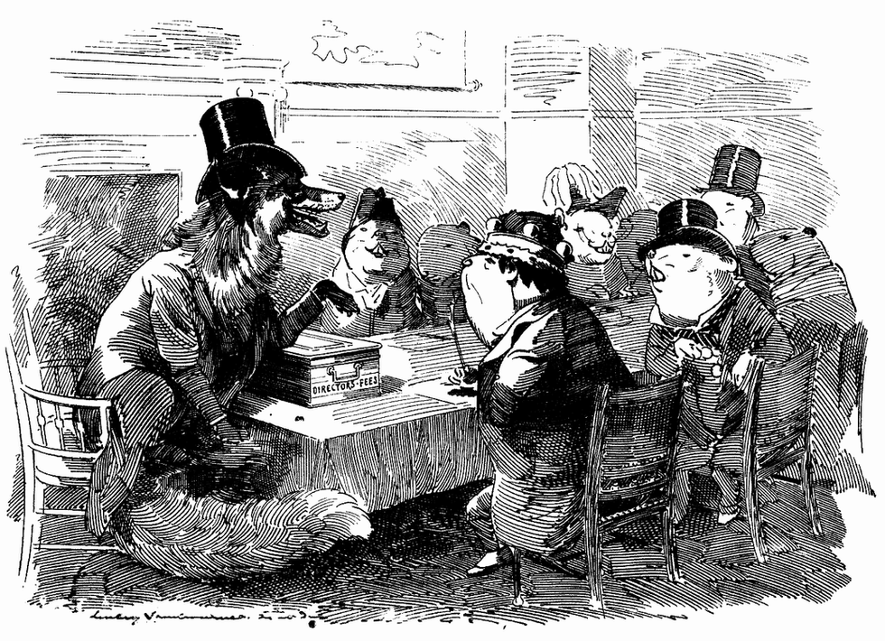 Aristocratic Directors - The fox and the guinea-pigs - aristocratic directors lend their names to dubious companies in return for suitable emoluments,Punch, or the London Charivari, Vol. 104, April 15, 1893