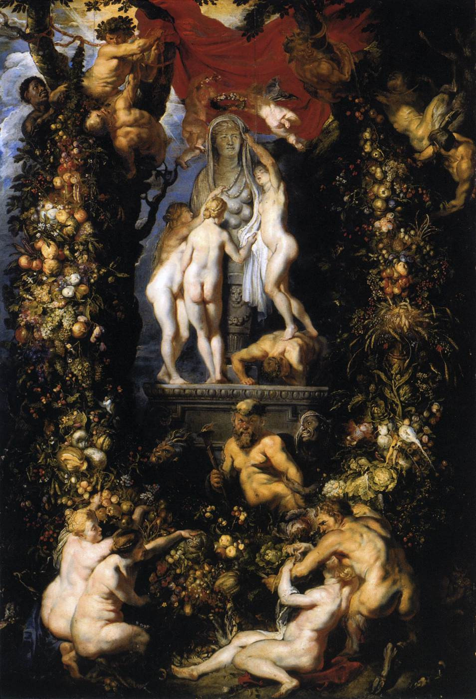 Three Graces Adorning Statue of Ceres