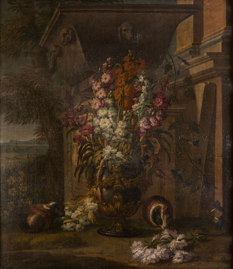 A Still Life of Flowers and Guinea Pigs