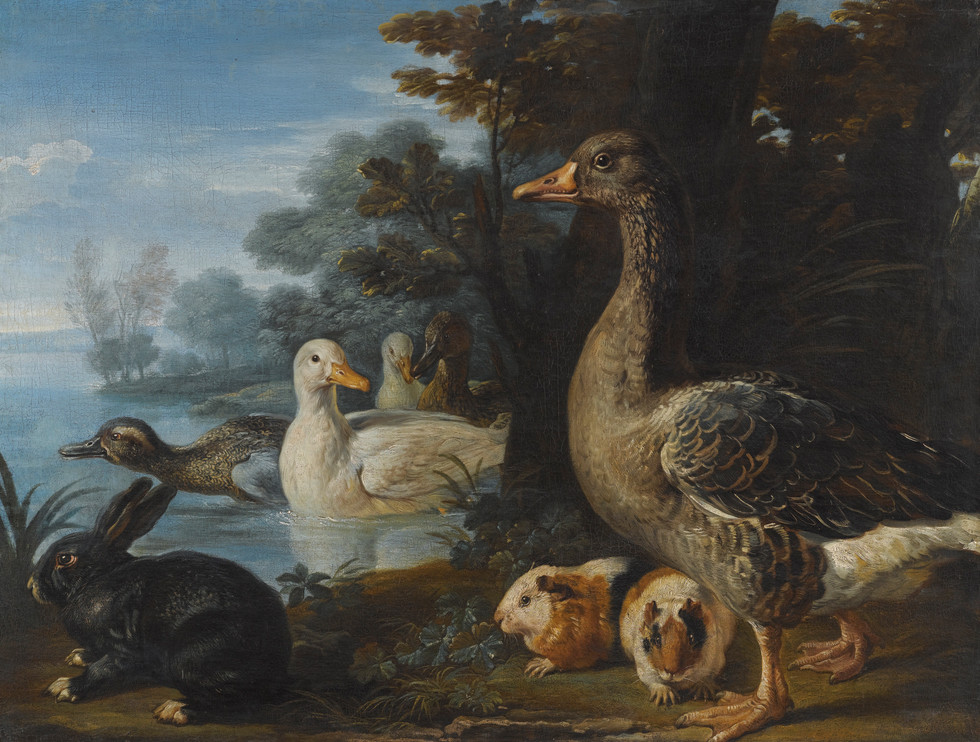 Ducks, Guinea Pig, and a Rabbit in a Wooded Landscape
