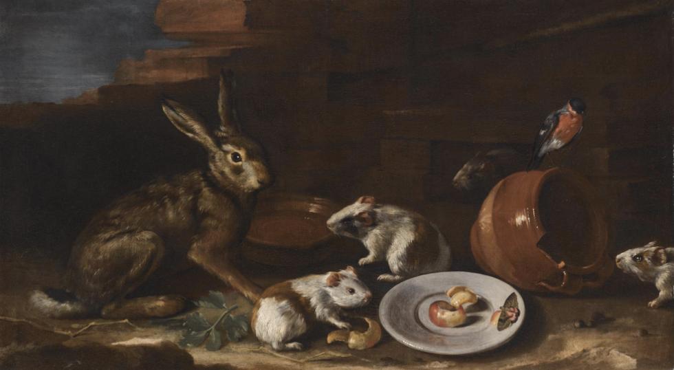 A  Farmyard Scene with Rabbit, Guinea Pigs, Apple-Peel, Butterfly on a Plate
