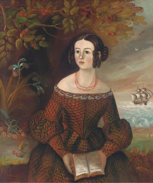 Woman in Tartan Dress with Hymnal and Ship